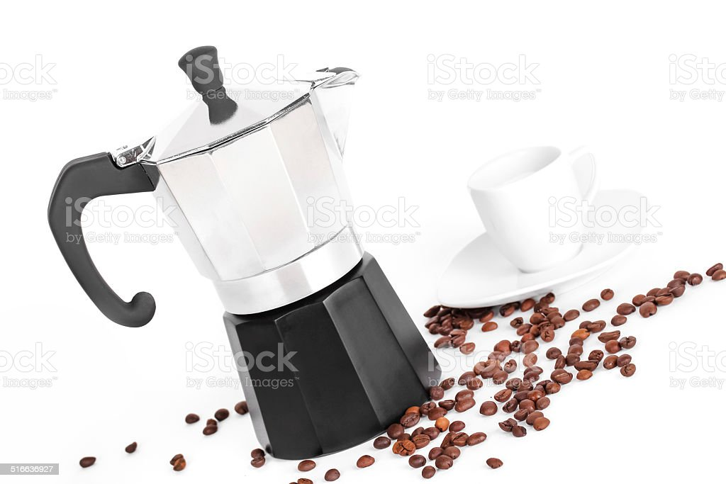 Coffeepot and coffee beans stock photo