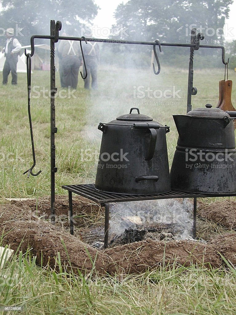 Coffeepot Cooking over campfire royalty-free stock photo
