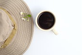 Coffee,safari hat On a white background