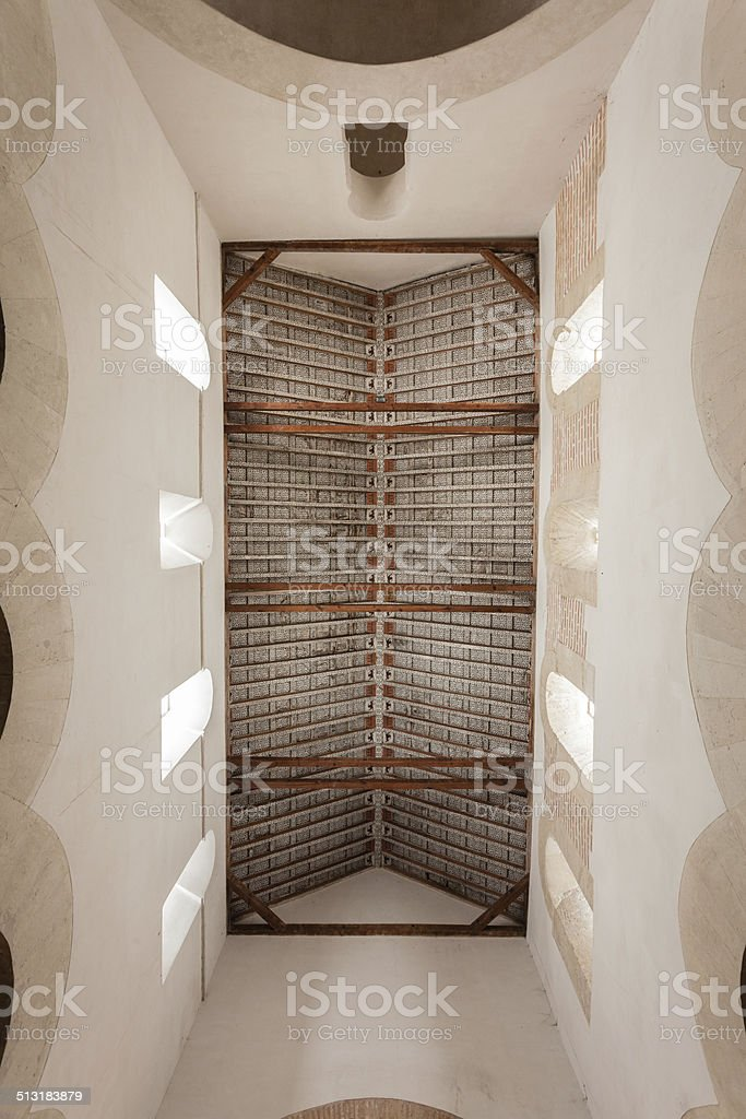 Coffered ceiling in mozarabic church stock photo