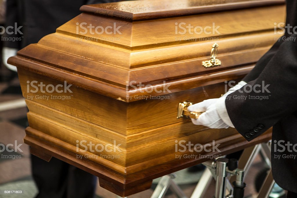 Coffin and funeral stock photo