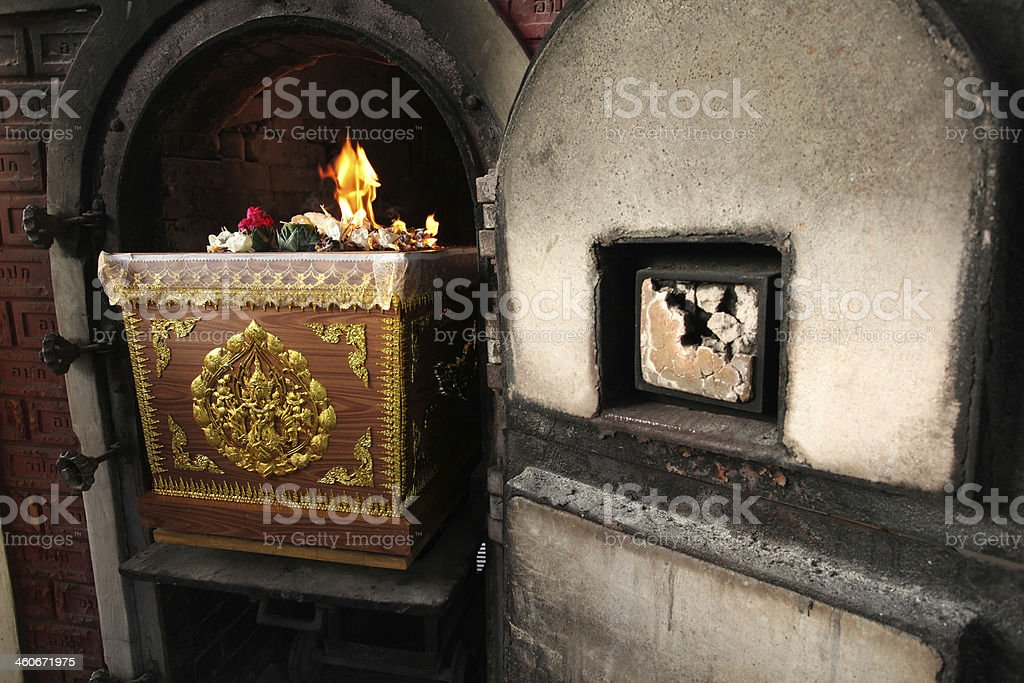 Coffin in crematory Thai funeral stock photo