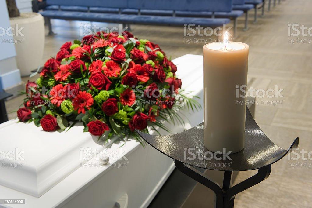 Coffin in morgue stock photo