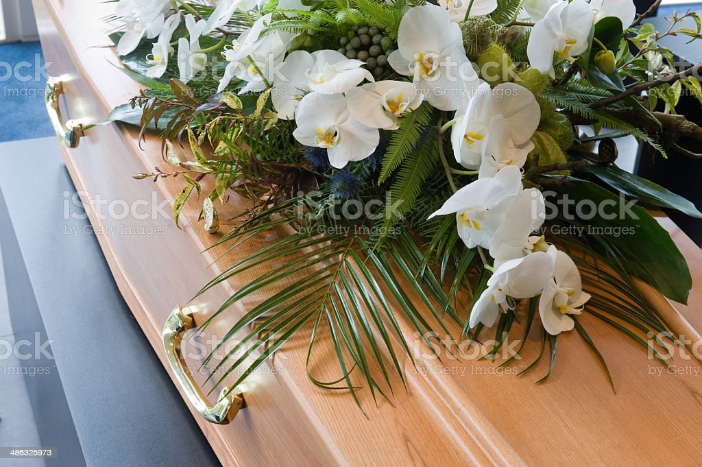 Coffin in morque stock photo