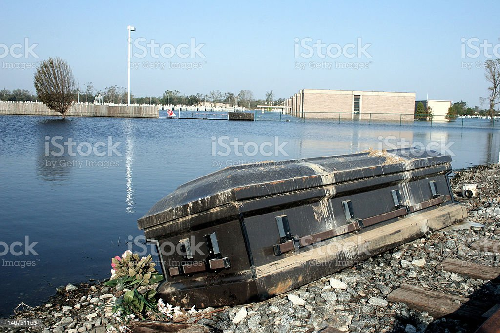Coffin left by katrina stock photo