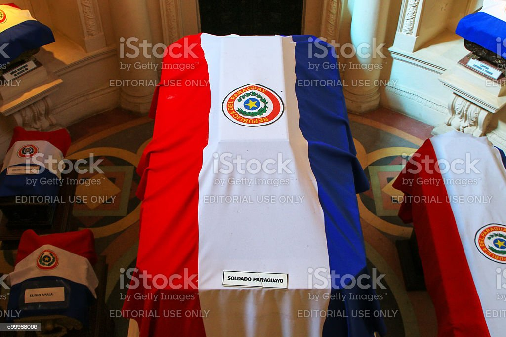 Coffins covered with national flags in National Pantheon of the stock photo