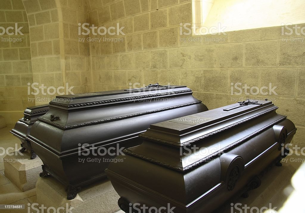 Coffins in the mausoleum royalty-free stock photo