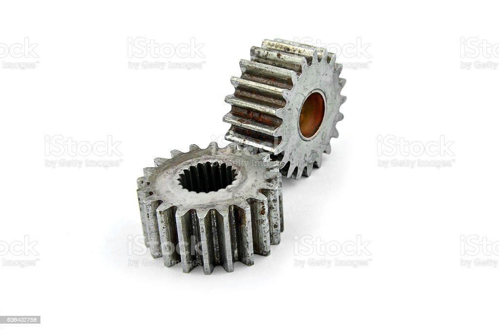 Cog gears mechanism closeup. stock photo