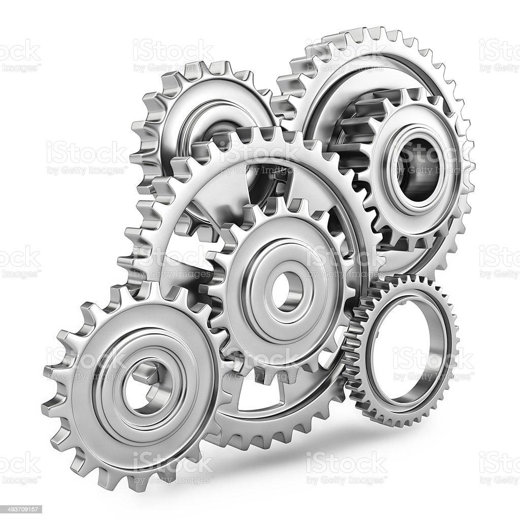 Cog gears mechanism concept. 3d stock photo