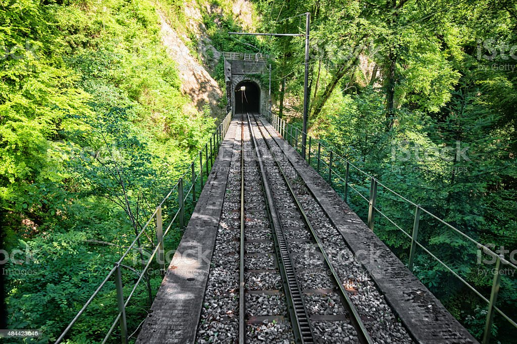 cog railway from Rheineck to Walzenhausen in Switzerland stock photo