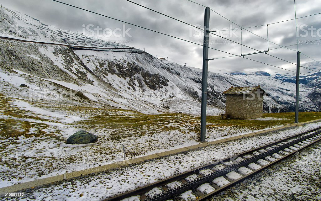 Cog railway track in the Swiss Alps stock photo