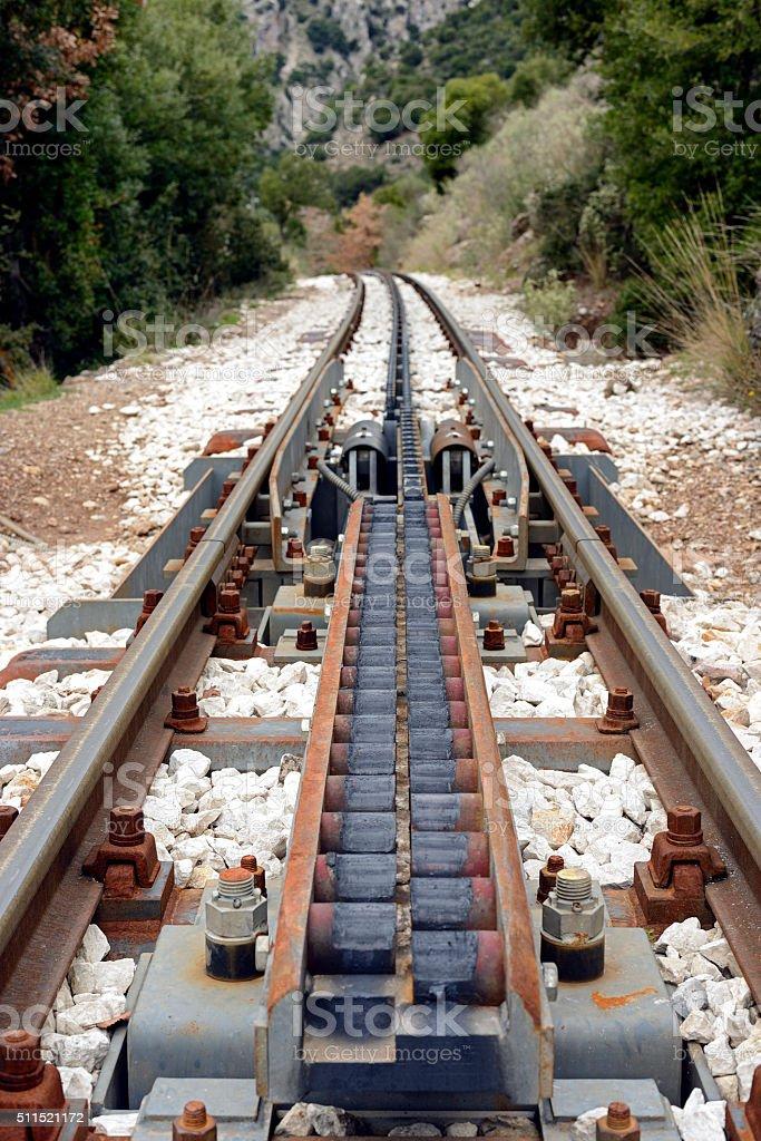 Cog traction transition system at Diakofto-Kalavryta railway stock photo
