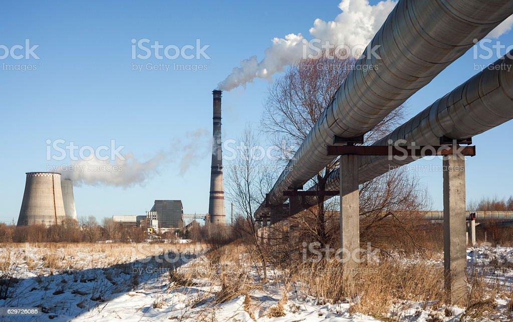 Cogeneration plant in Kyiv (Ukraine) stock photo
