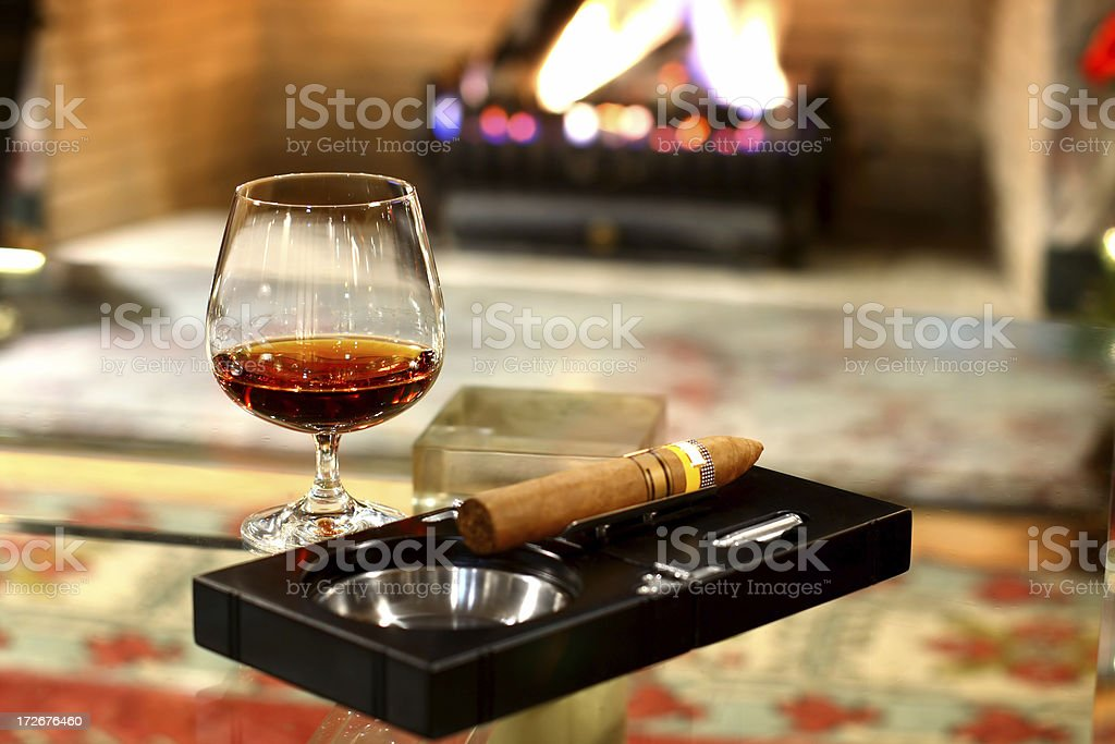 Cognac and Cigar royalty-free stock photo