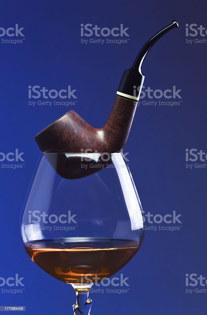 cognac and pipe royalty-free stock photo