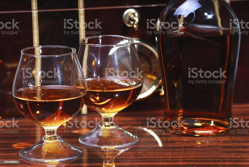 Cognac and Red Wood Humidor as Background stock photo