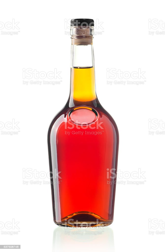 Cognac bottle stock photo