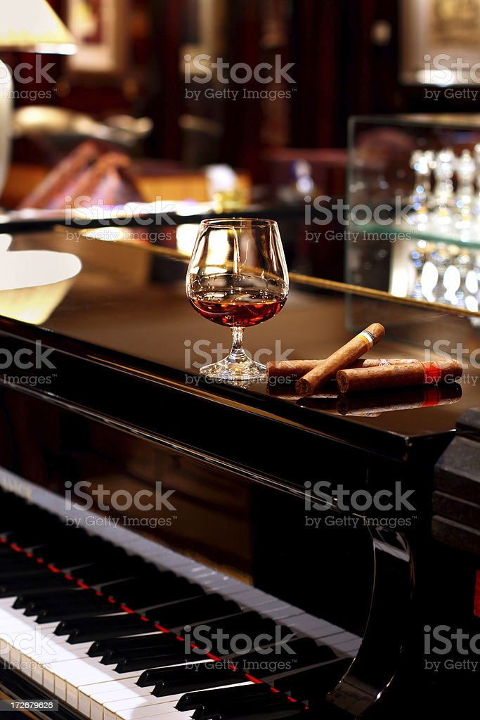 Cognac & Cigars on Piano stock photo