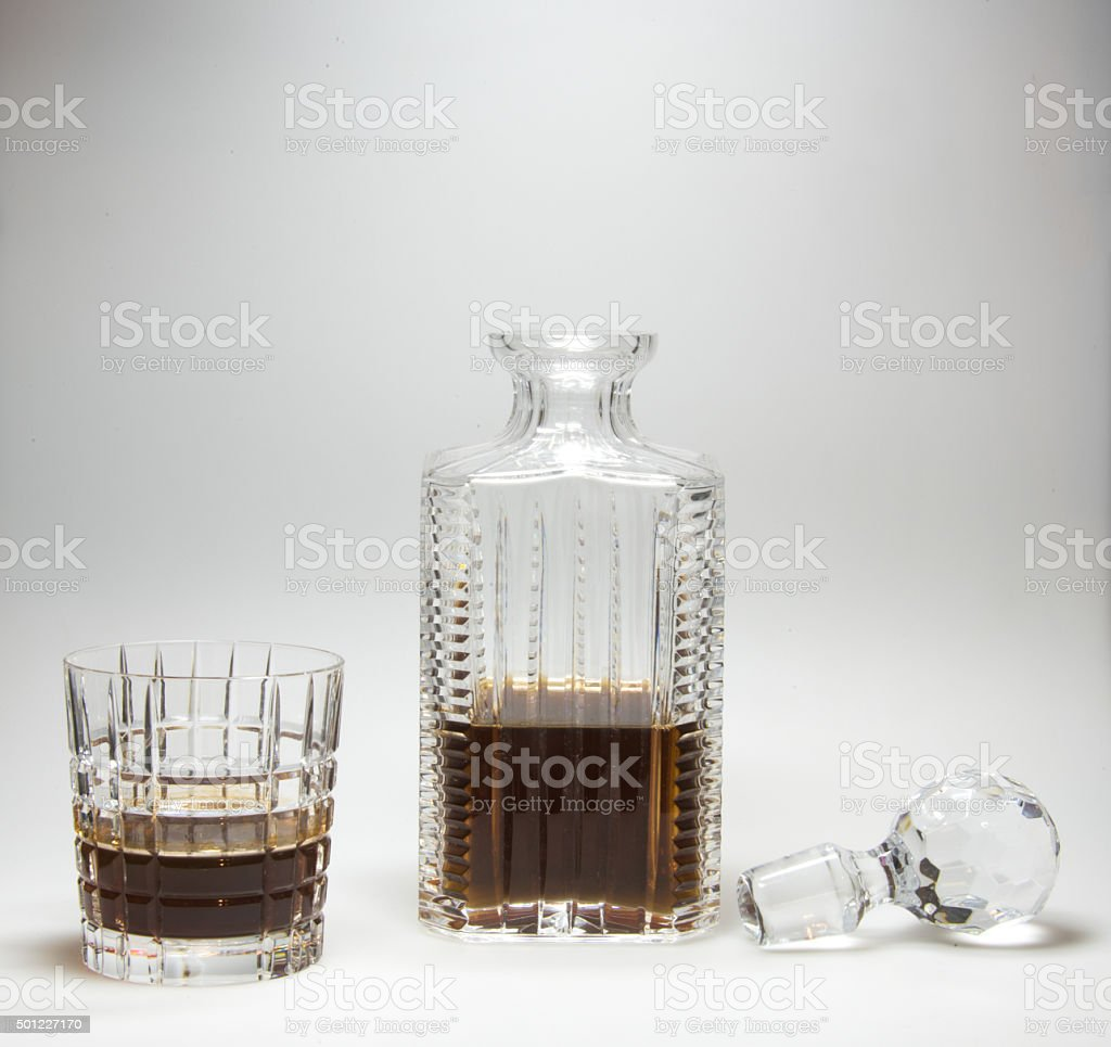 Cognac (brandy) glass and bottle stock photo