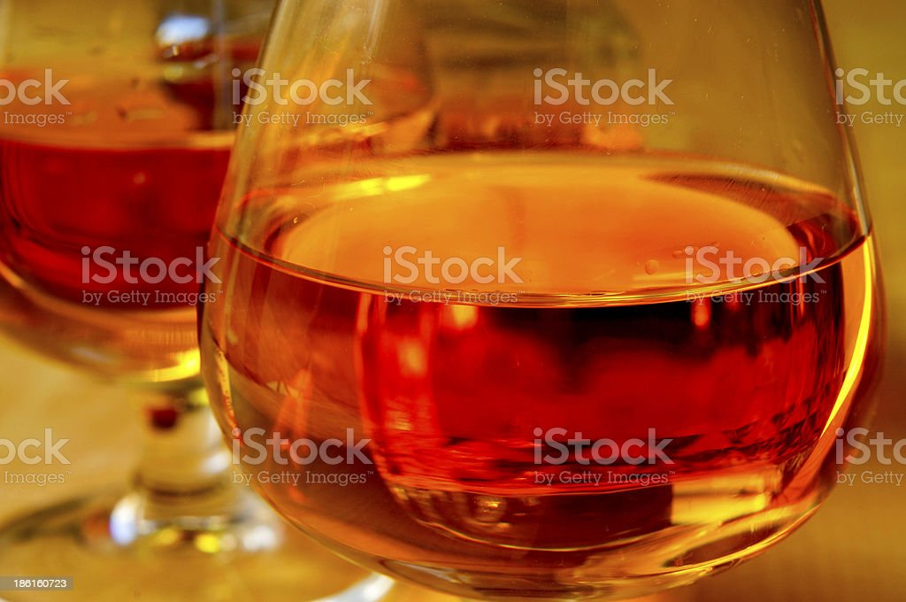 cognac glasses with brandy royalty-free stock photo