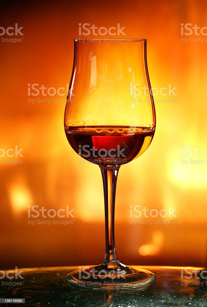 Cognac in tulip glass royalty-free stock photo