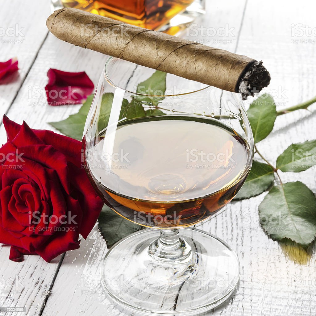 Cognac with cigar royalty-free stock photo