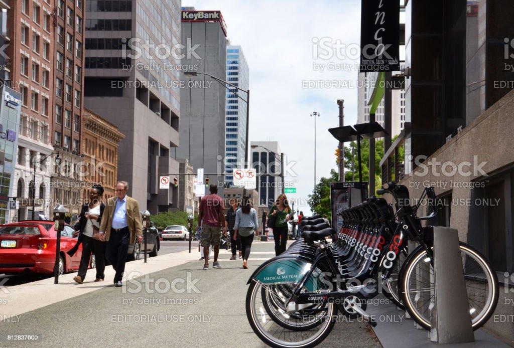 CoGo bicycle rental station stock photo