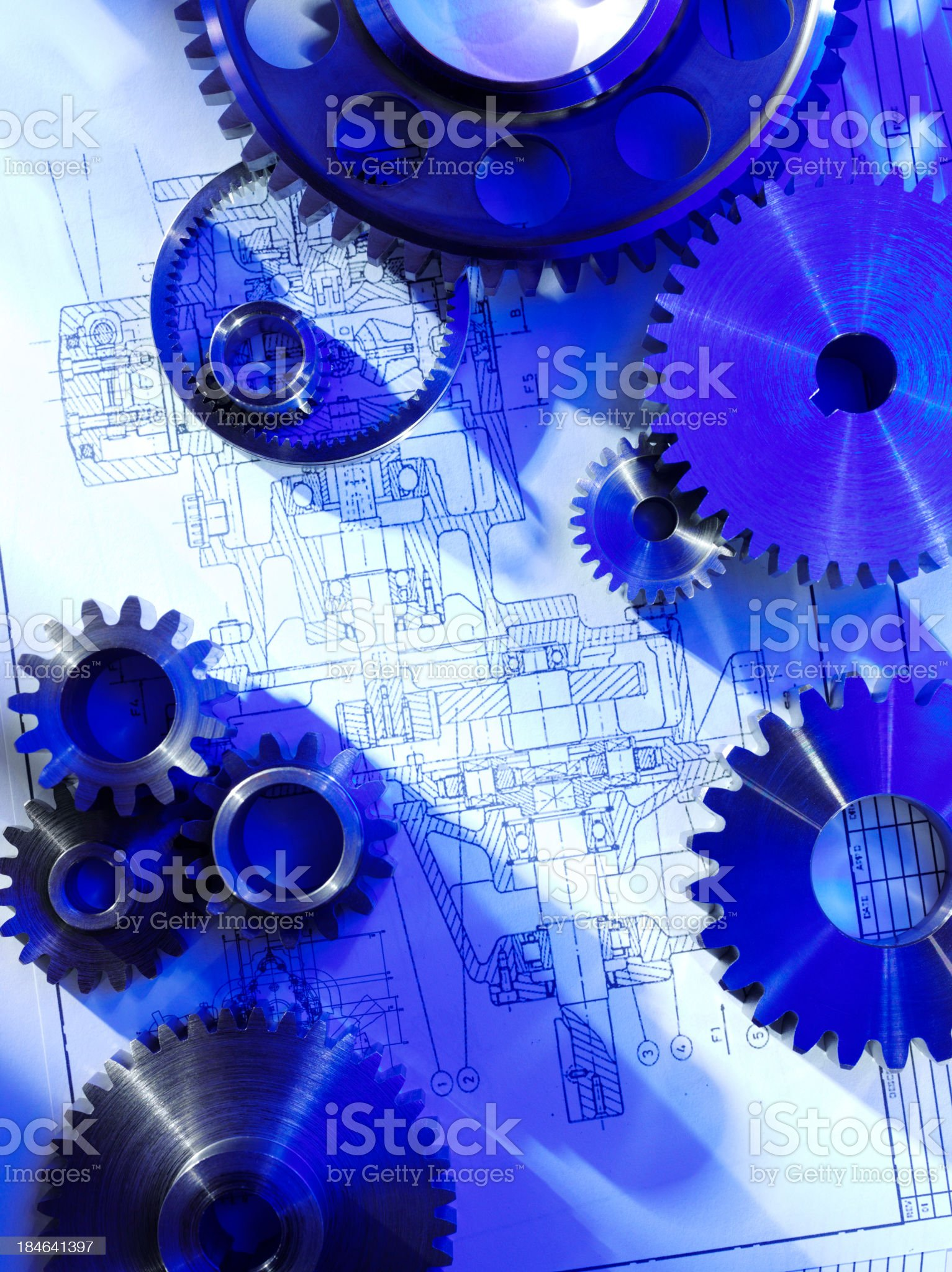 Cogs and Gears with Blueprints royalty-free stock photo