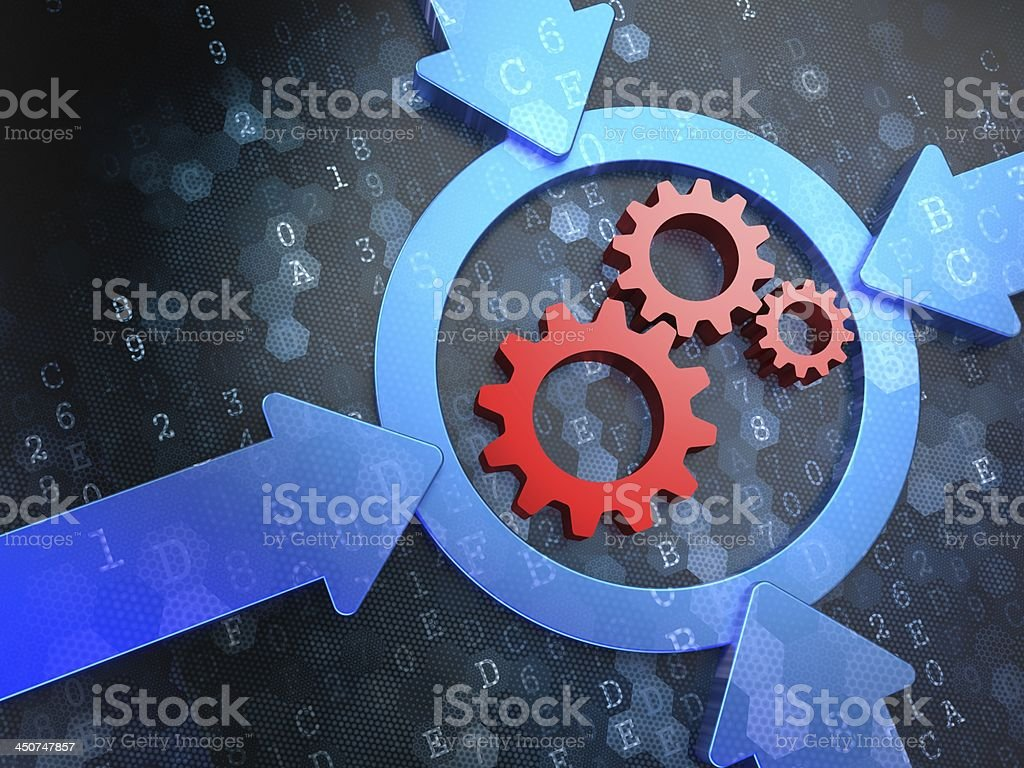 Cogwheel Gear Icon on Digital Background. stock photo