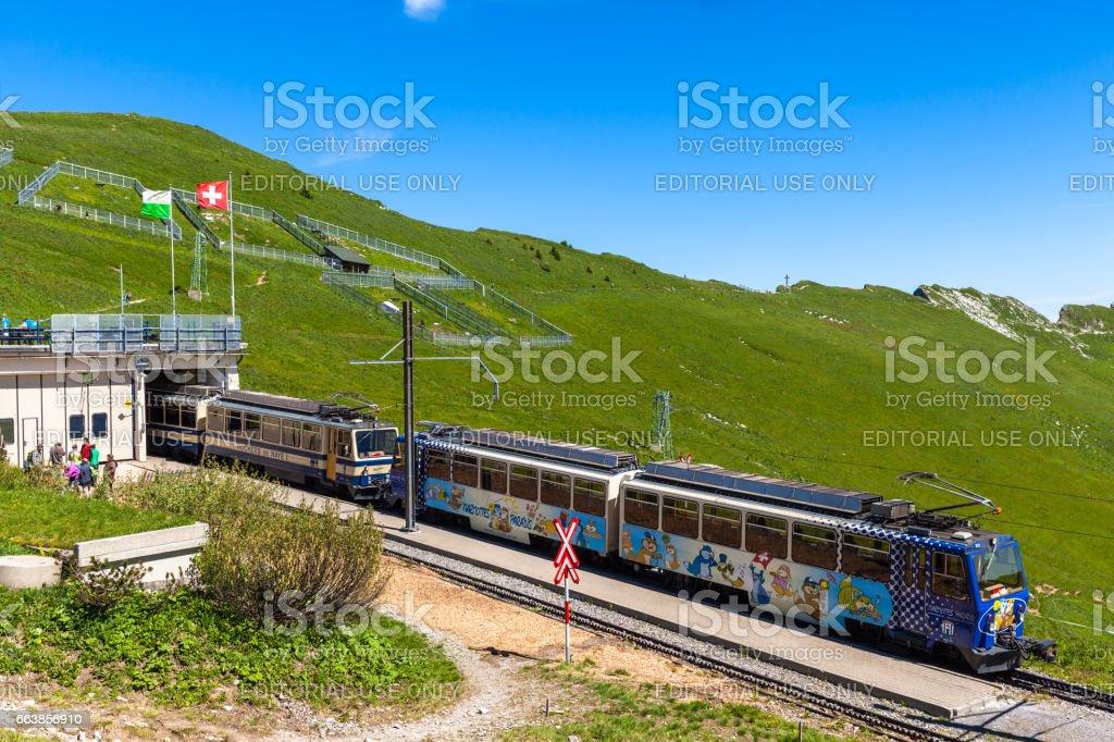 Cogwheel train at Rochers-de-Naye station stock photo