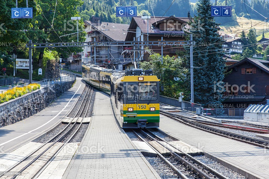 Cogwheel train at Wengen stock photo
