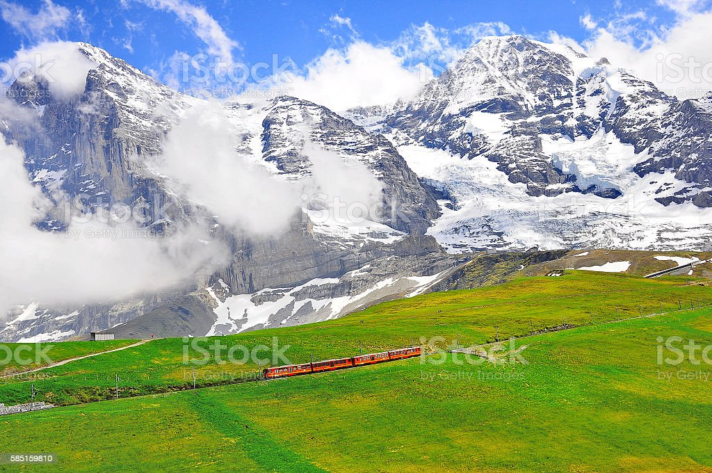 Cogwheel train from Jungfraujoch station. stock photo