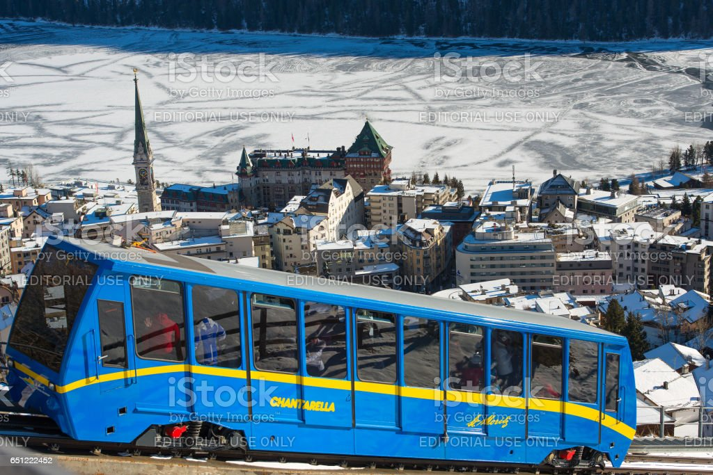 Cogwheel train to the village in winter stock photo