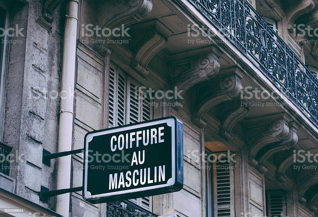 Coiffure au Masculin Sign Paris stock photo
