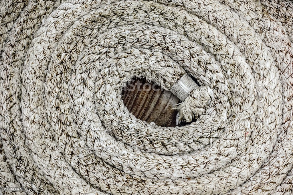 Coil of nautical rope stock photo