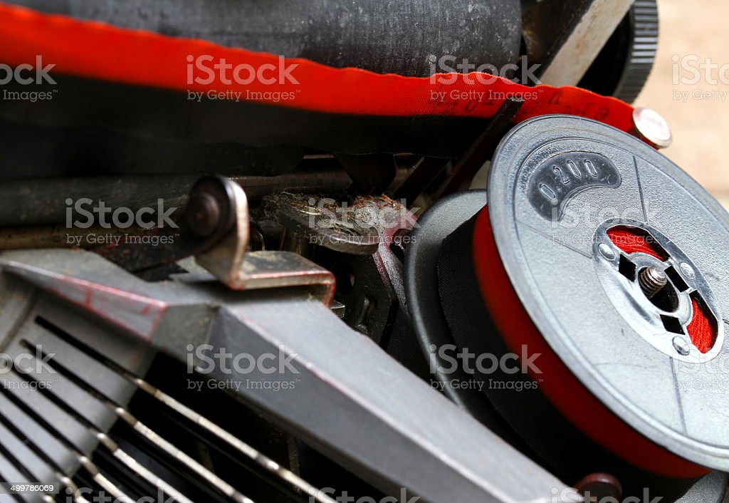 coil of red and black ribbon of an old typewriter royalty-free stock photo
