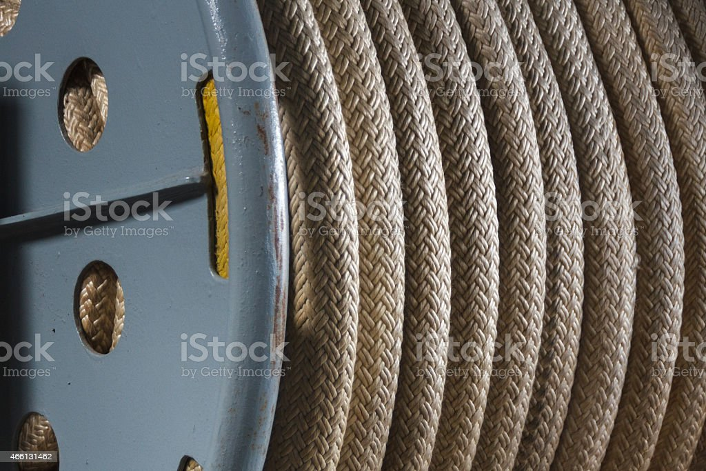 Coil of rope on Battleship Wisconsin stock photo