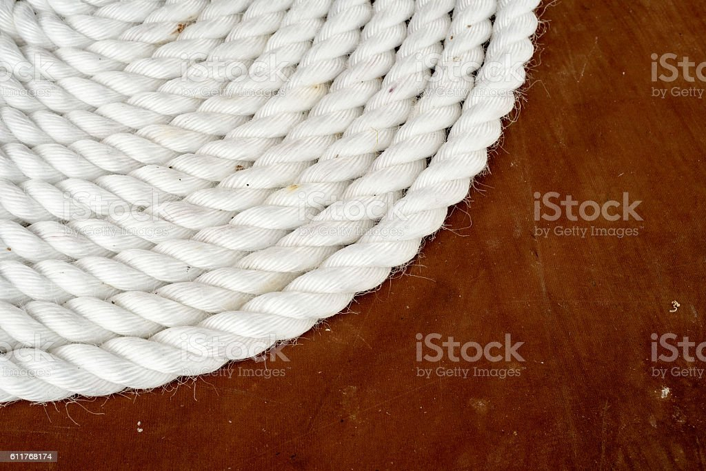 Coil of White Shipping Rope stock photo