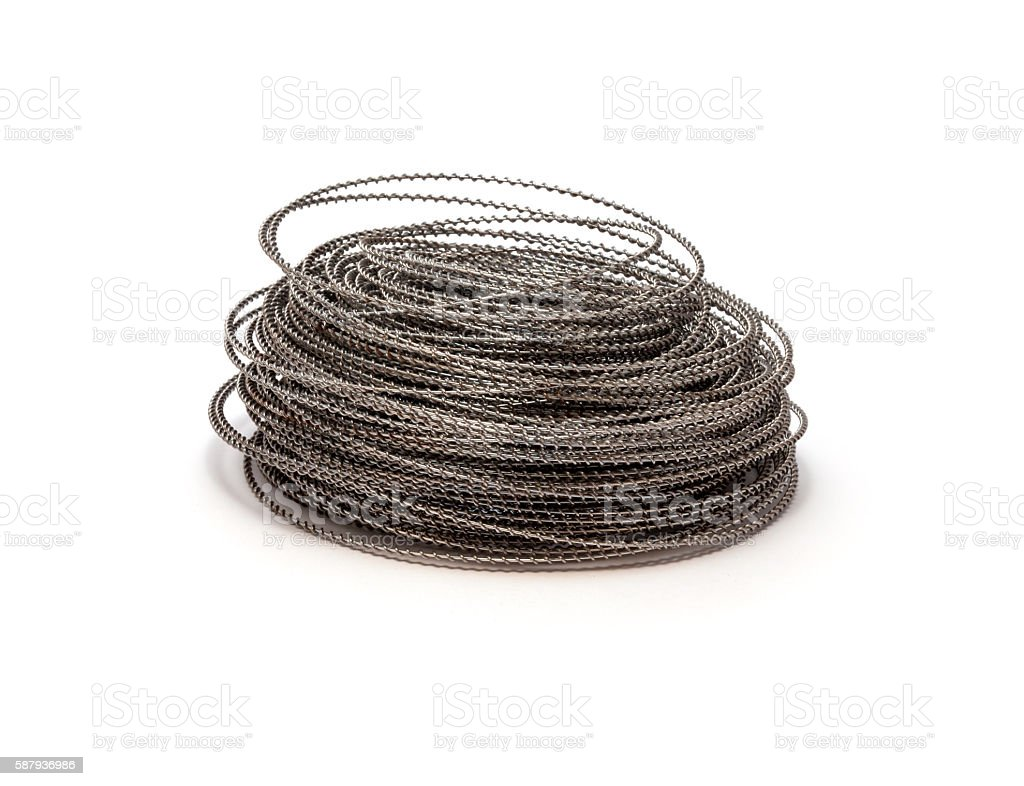 coil of wire on white background stock photo