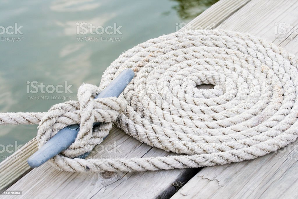 Coiled mooring line stock photo