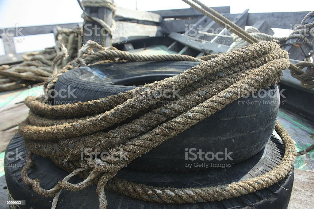 coiled rope ship royalty-free stock photo