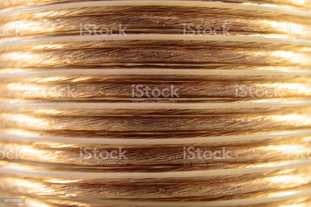 Coiled Speaker Wire stock photo