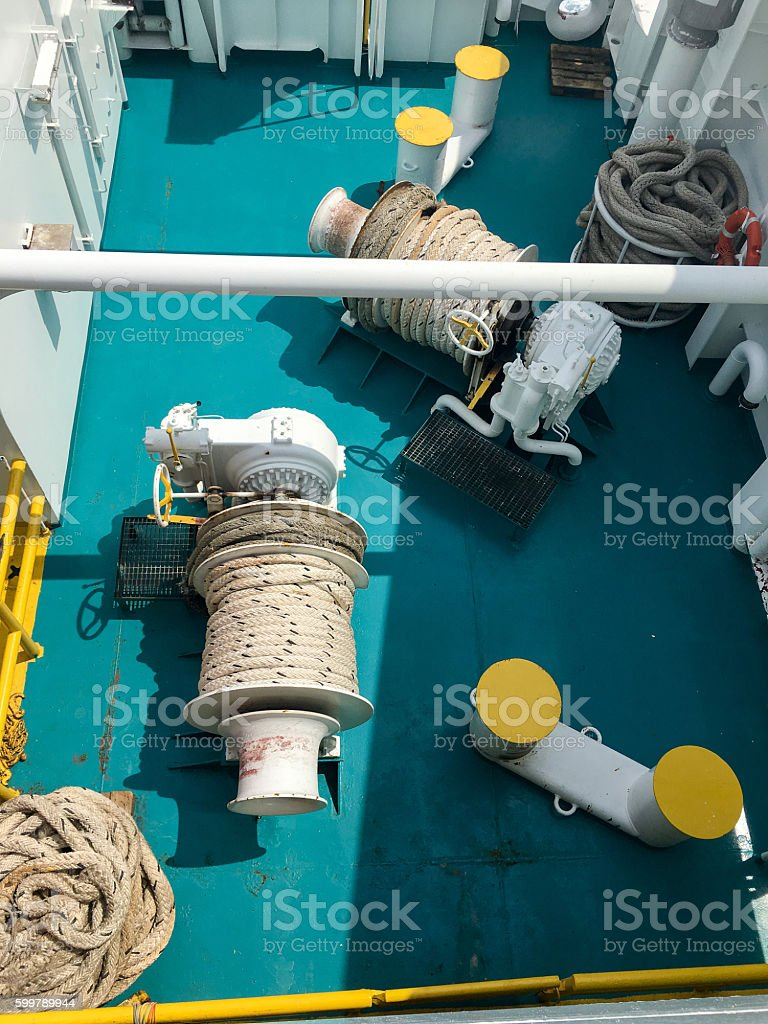 Coiled winches stock photo