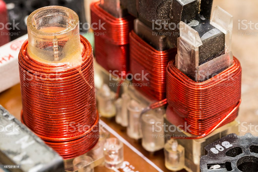 RF coils - electronic components stock photo