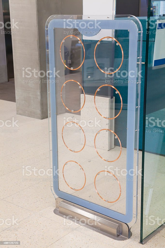 Coils of a security system stock photo
