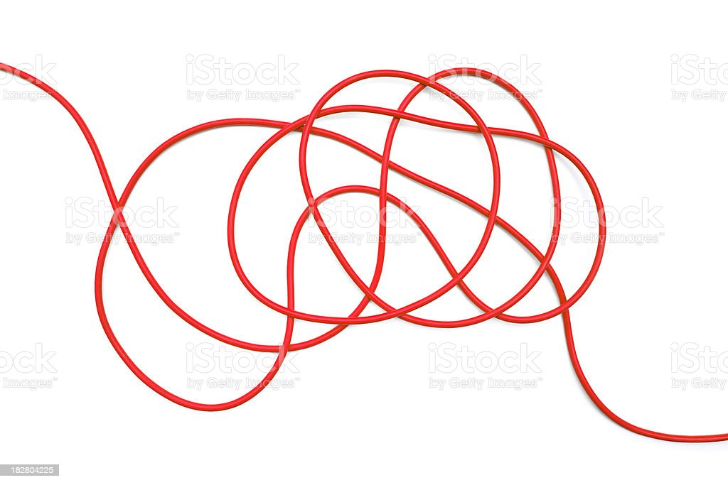 Coils of red cable as metaphor stock photo