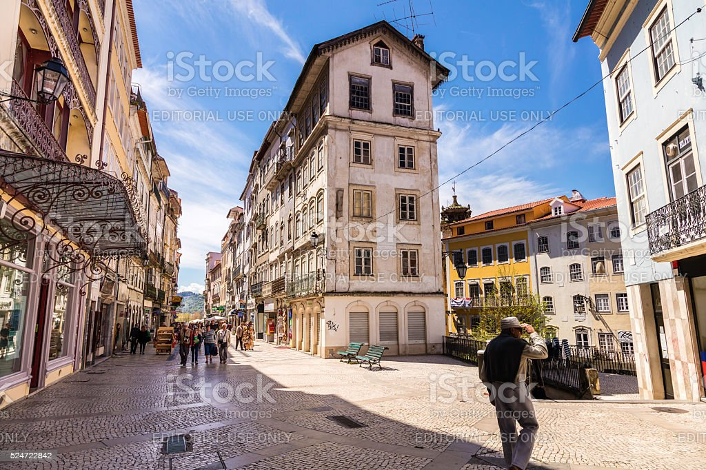 Coimbra old city street alleys in Portugal stock photo