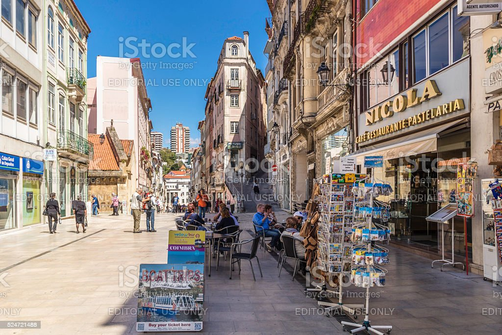 Coimbra old historical city cafe stock photo