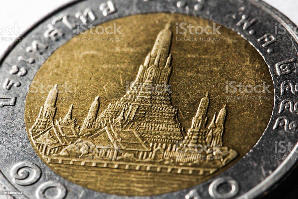 Coin 10 Baht Thailand stock photo