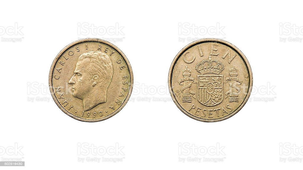 Coin 100 pesetas, Spain stock photo